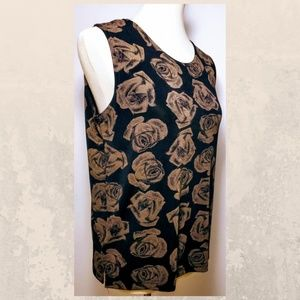 Black and Gold Rose Floral Sleeveless Blouse M